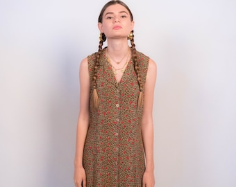 90s Leopard and Floral Print Maxi Dress fits sizes XS/S/M