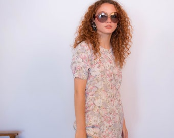 50s Floral Silky Shirt Dress size S/M