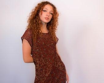 90s Abstract Maxi Bias Dress fits sizes S/M/L