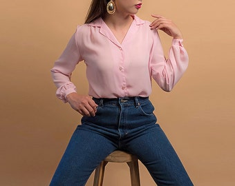 Pink Sheer Blouse / Vintage 80s Shirt / Boxy Blouse / Button Up Shirt Δ size: XS/S