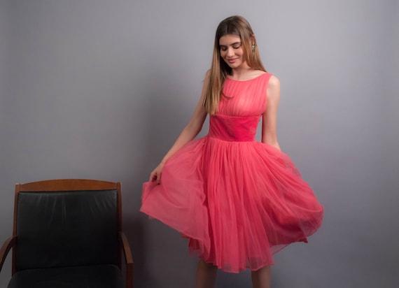 50s TULLE Dress. Vintage 50s Dress. 50s Prom Dress