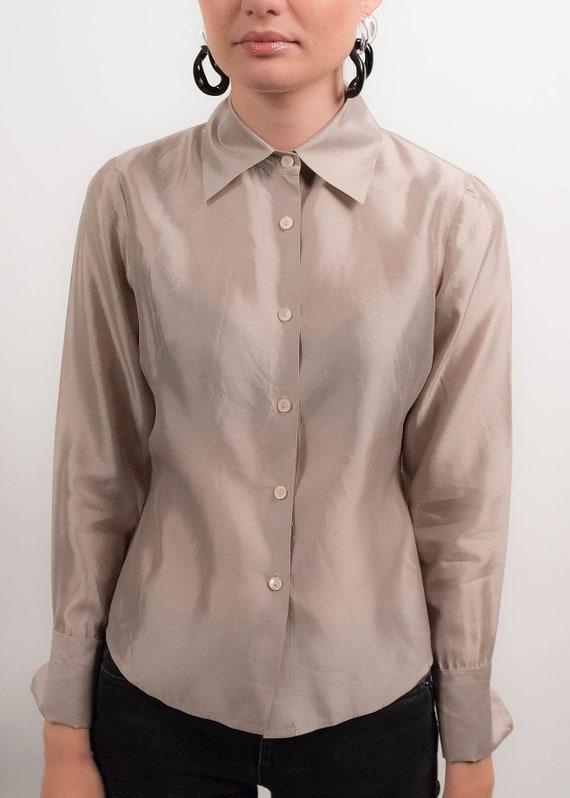 Silver METALLIC Silk Blouse. 90s Silk Blouse. Min… - image 3