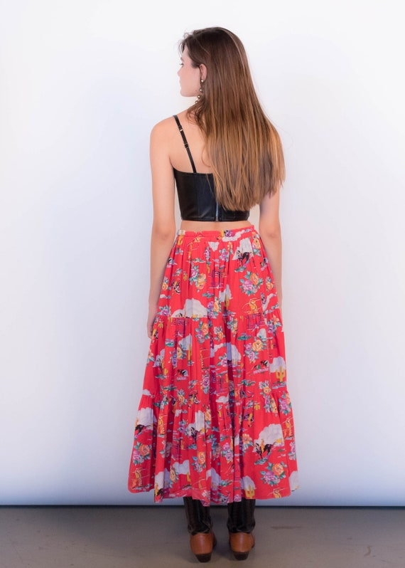 80s Floral Western Tiered Skirt size S/M - image 8