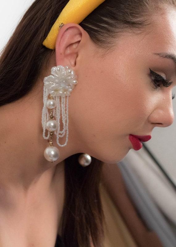 AVANT-GARDE 80s Floral Earrings. Oversized Fringe… - image 9