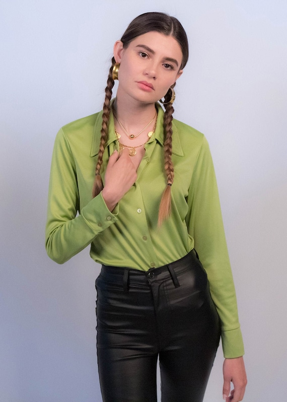 90s Minimal Chartreuse Silky Blouse fits sizes XS/