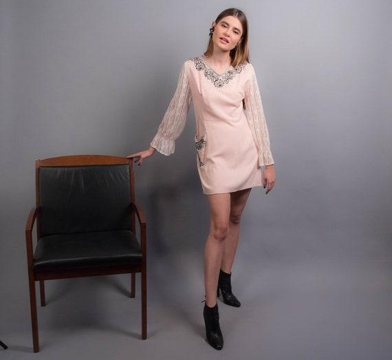60s MINI Dress. Vintage Rhinestone 60s Dress. Boho