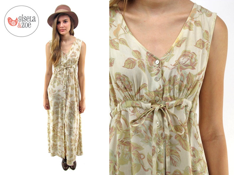 07fcd2ae3bf 90s Floral Maxi Dress Empire-Waist Dress Oversized Slouch