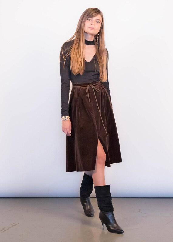 70s Boho Velvet Full Skirt size M