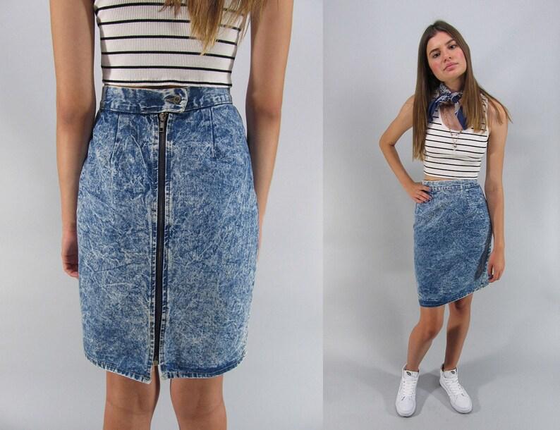 2776d7414d Vintage 80s Acid Wash Denim Skirt Denim Pencil Skirt | Etsy