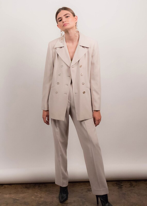 90s MINIMAL Pant Suit. Double-Breasted Pant Suit.… - image 10
