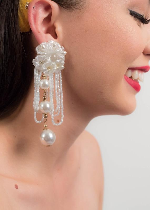 AVANT-GARDE 80s Floral Earrings. Oversized Fringe