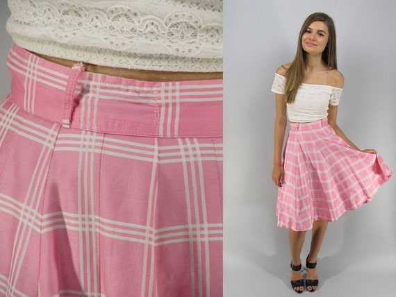 Vintage 50s Circle Skirt, Full Skirt, Plaid Skirt,