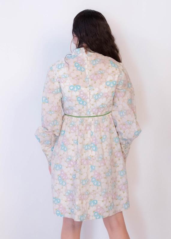 60s Bishop Sleeve Floral Mod Dress size M/L - image 8