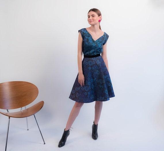 1950s Floral QUILTED Skirt. Vintage 50s Floral 2 … - image 1