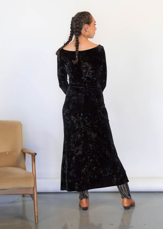 CRUSHED Velvet Maxi Dress. Vintage 90s Dress. 90s… - image 8