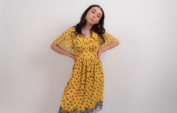 Boho FLORAL Dress. Vintage 70s Dress. Summer Flora