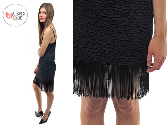 Black Fringe Dress / Vintage 80s Body Con Fringe D