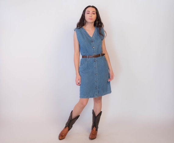 80s Gloria Vanderbilt Denim Dress size S