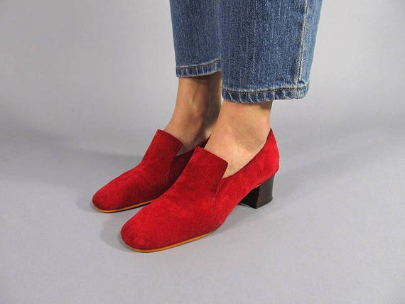 Vintage Suede Loafers / Vintage 60s Shoes / Mod Sh