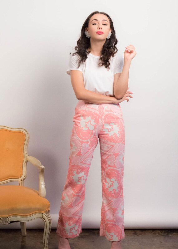 60s PAISLEY Pants. Vintage Wide-Leg Pants. 60s Pr… - image 5