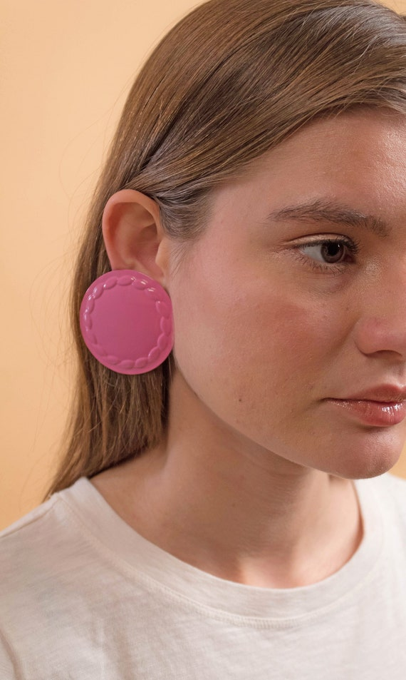 Round Earrings / Oversized Disc Earrings / Vintag… - image 2