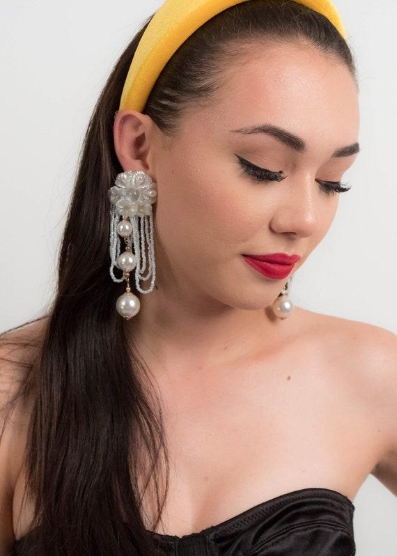 AVANT-GARDE 80s Floral Earrings. Oversized Fringe… - image 8