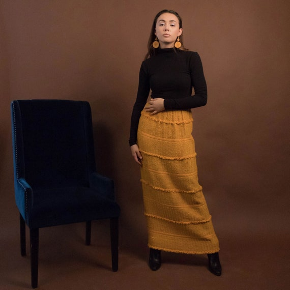Bohemian Maxi Skirt. Boho 60s Maxi Skirt. Woven Fr