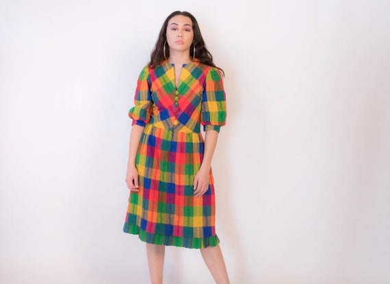 60s Plaid Madras Wool Dress with Balloon Sleeves s
