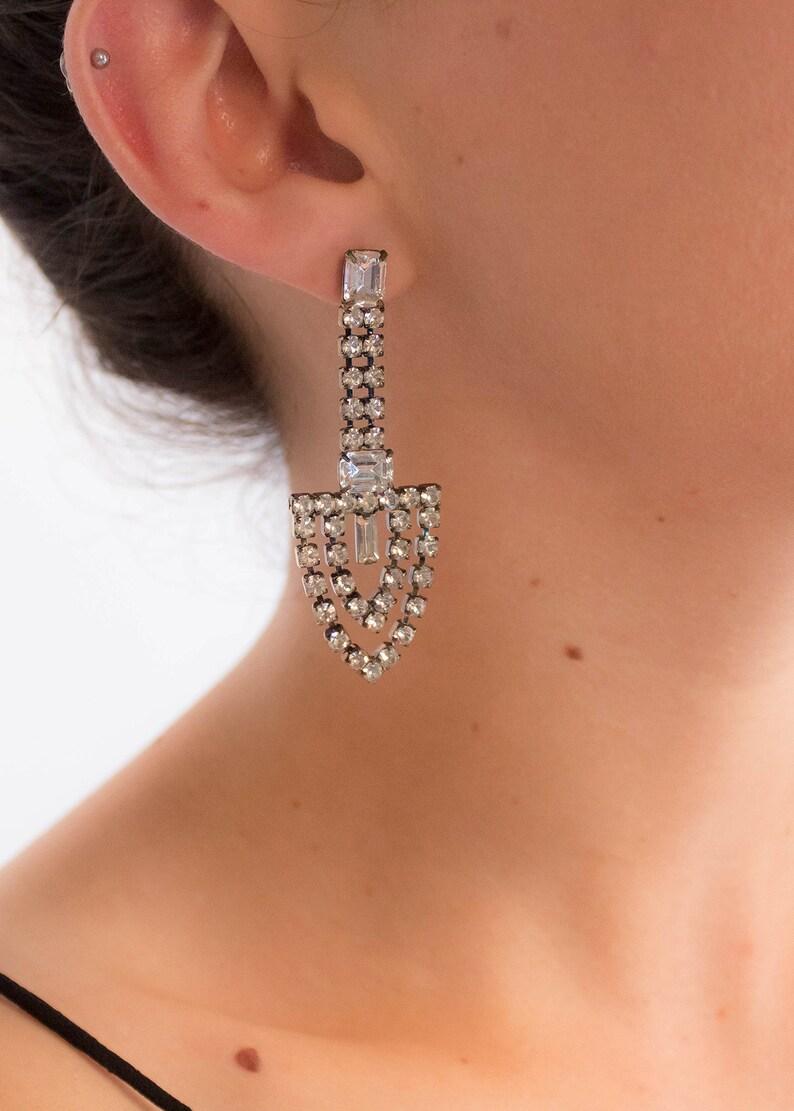 Art Deco Style Rhinestone Geometric Dangle Earrings