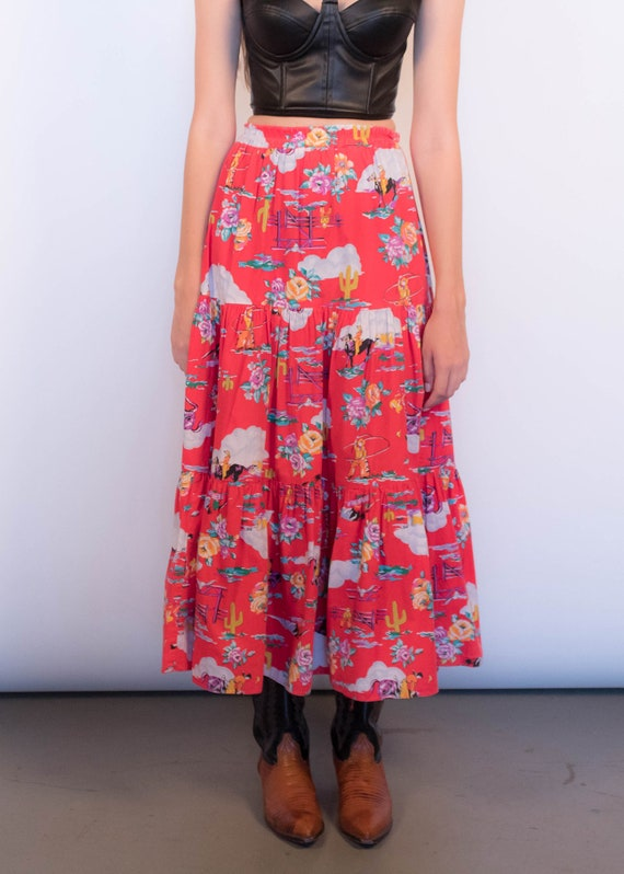 80s Floral Western Tiered Skirt size S/M - image 3