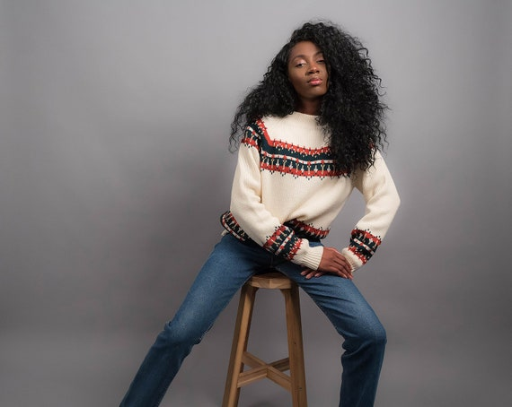 70s Nordic Sweater / Boho Sweater / Oversized Swea