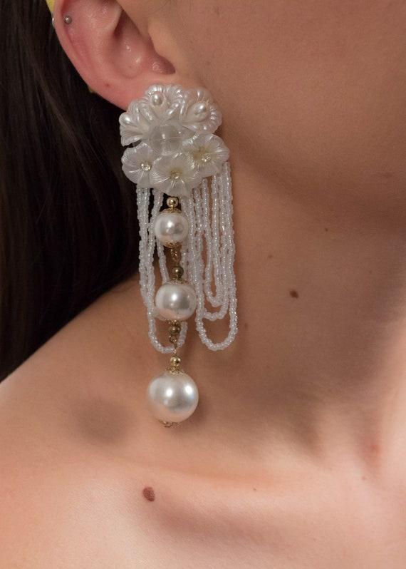 AVANT-GARDE 80s Floral Earrings. Oversized Fringe… - image 2
