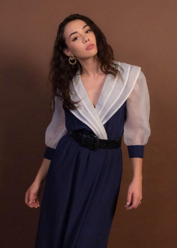 80s Organza Puff Sleeve Silky Dress size M/L