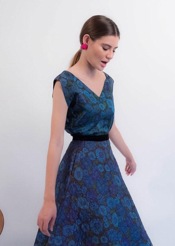 1950s Floral QUILTED Skirt. Vintage 50s Floral 2 … - image 10