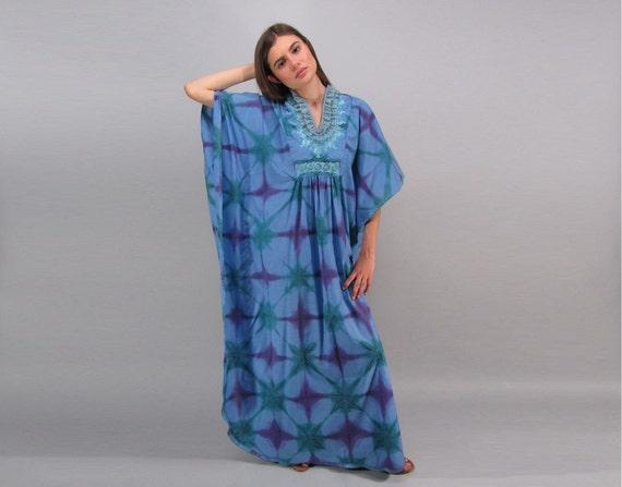 60s Tie Dye Caftan / Boho Dress / Vintage Caftan /