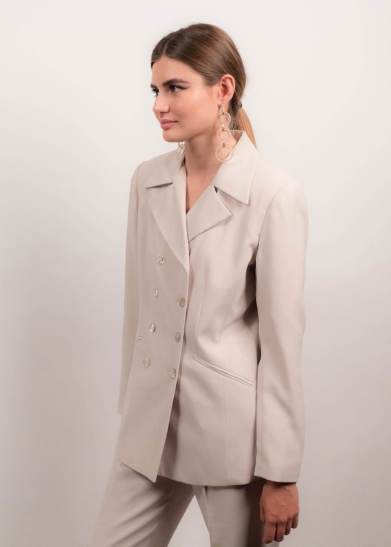 90s MINIMAL Pant Suit. Double-Breasted Pant Suit.… - image 9