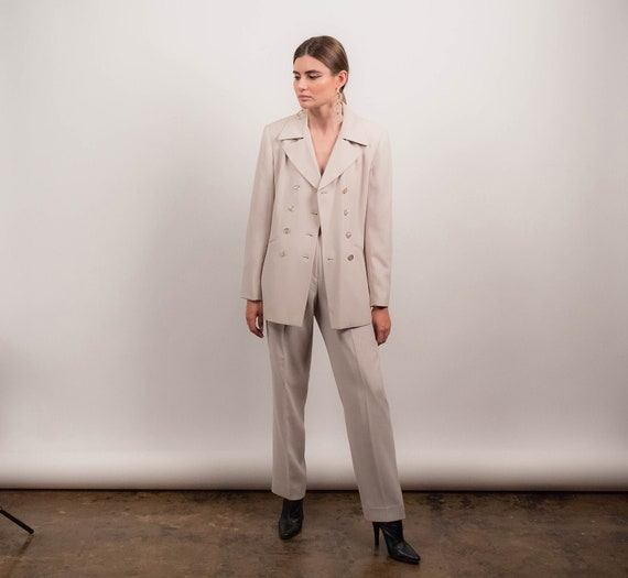 90s MINIMAL Pant Suit. Double-Breasted Pant Suit.