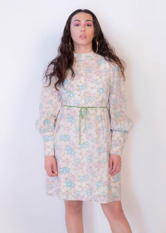 60s Bishop Sleeve Floral Mod Dress size M/L - image 4