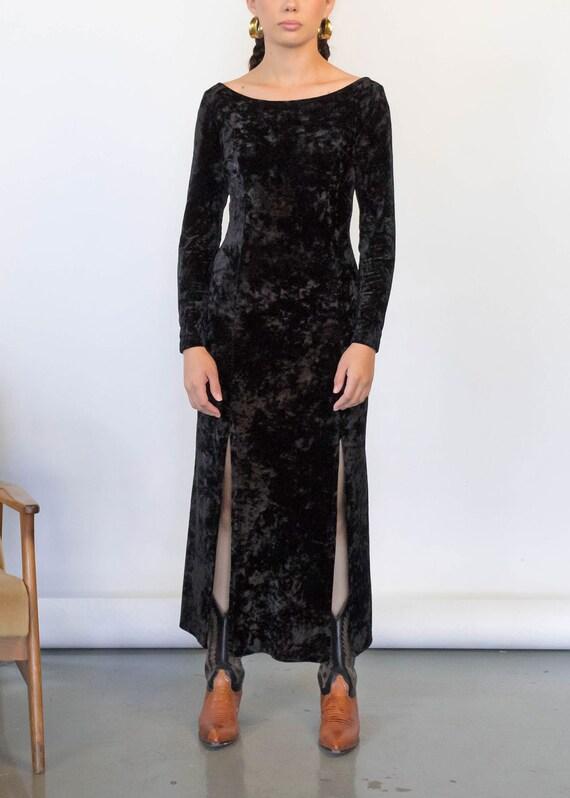 CRUSHED Velvet Maxi Dress. Vintage 90s Dress. 90s… - image 3