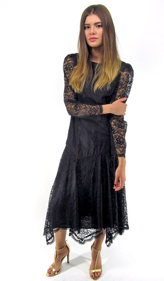 On Sale Vintage 80s Lace Handkerchief Dress Black Lace  7d8d8a0e7