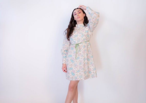 60s Bishop Sleeve Floral Mod Dress size M/L - image 1