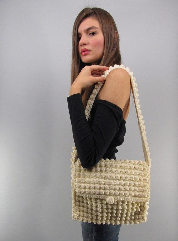 Vintage 70s Crochet Purse, Shoulder Purse, Bohemia