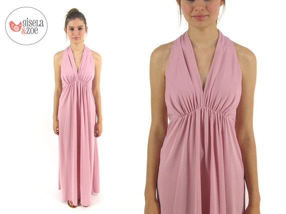 Vintage 70s Maxi Empire Waist Dress Dusty Pink Boh