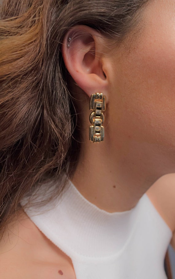 Gold Chain Link Earrings / Geometric Chain Link Ea