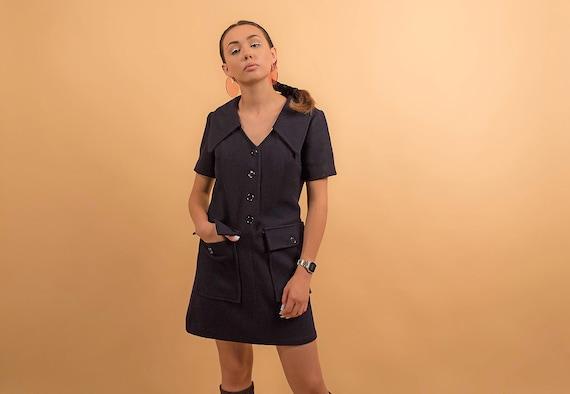 60s Mod Shift Dress Scooter Dress 60s Dress Mod Mini Dress Shift Dress Vintage 60s Dress Vintage Wool Dress Δ size: M