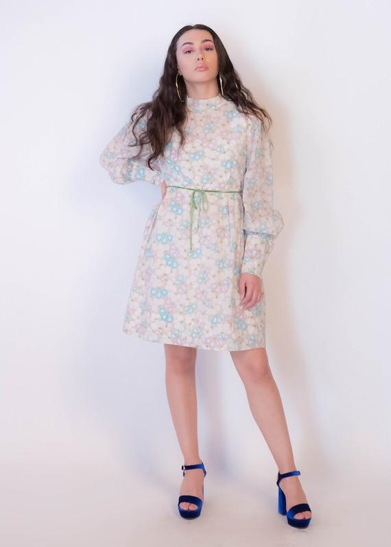 60s Bishop Sleeve Floral Mod Dress size M/L - image 6