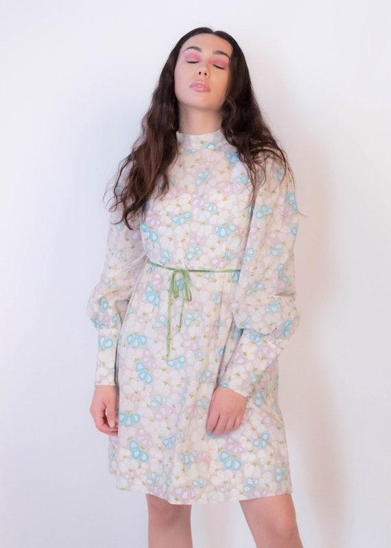 60s Bishop Sleeve Floral Mod Dress size M/L - image 10
