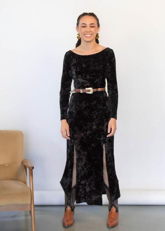 CRUSHED Velvet Maxi Dress. Vintage 90s Dress. 90s… - image 7