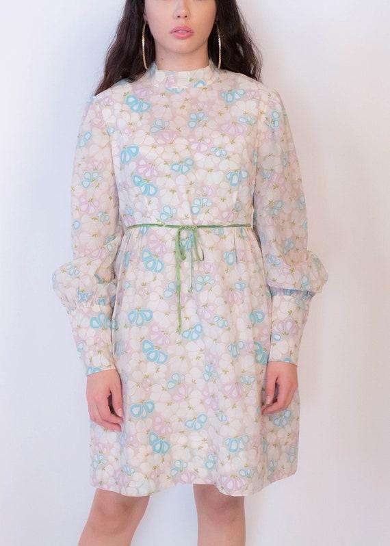 60s Bishop Sleeve Floral Mod Dress size M/L - image 3