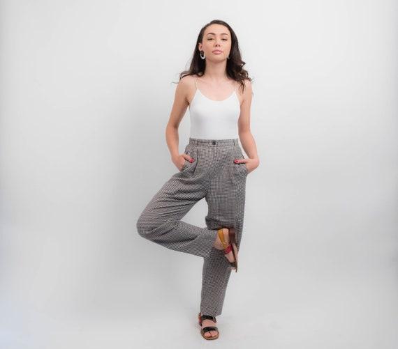 Liz Claiborne LINEN Trousers. Vintage Gingham Trou